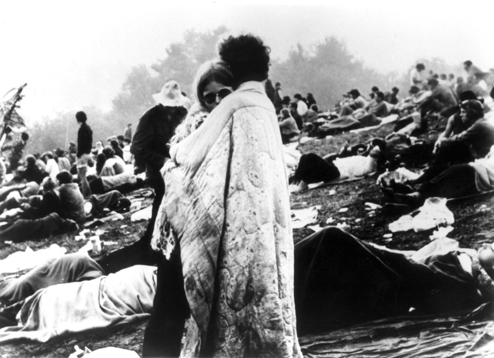 In this August 1969 file photo, a couple hugs during the Woodstock Music and Art Festival in Bethel, N.Y., USA. (AP photo)
