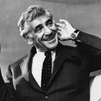 Leonard Bernstein in 1972 at a press conference in London. (AP)