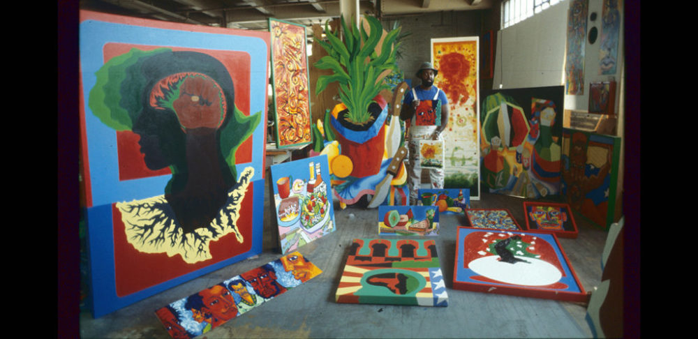 Dana Chandler in his studio at 11 Leon St. (Courtesy of the artist)