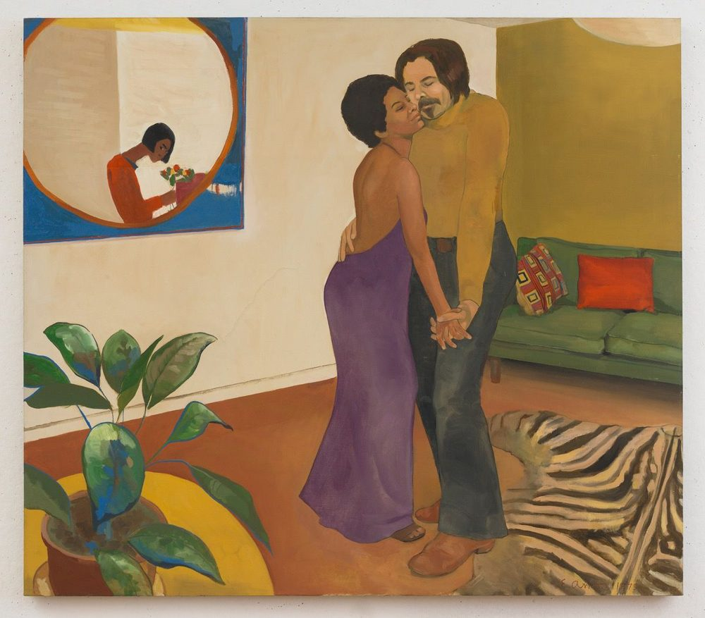 "Emma Amos' ""Sandy and Her Husband,"" created in 1973. (Courtesy Brooklyn Art Museum)"