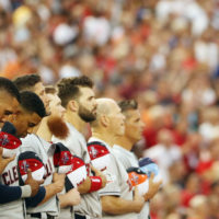 The national anthem has become a pregame staple of American sports. (Patrick Smith/Getty Images)