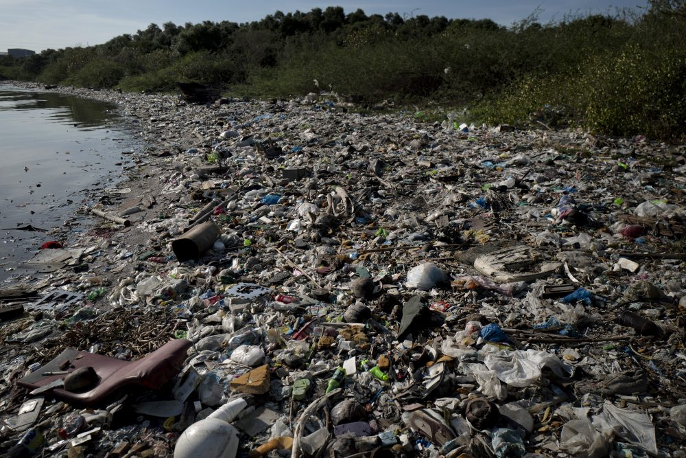 Plastic wastes fill a beach on April 18, 2018 in Manila, Philippines. The Philippines has been ranked third on the list of the world's top-five plastic polluters into the ocean, after China and Indonesia, while reports show that almost half of the global plastic garbage come from developing countries, including Vietnam and Thailand. (Jes Aznar/Getty Images)