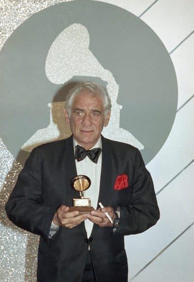 Leonard Bernstein with his Grammy Award 1985. (