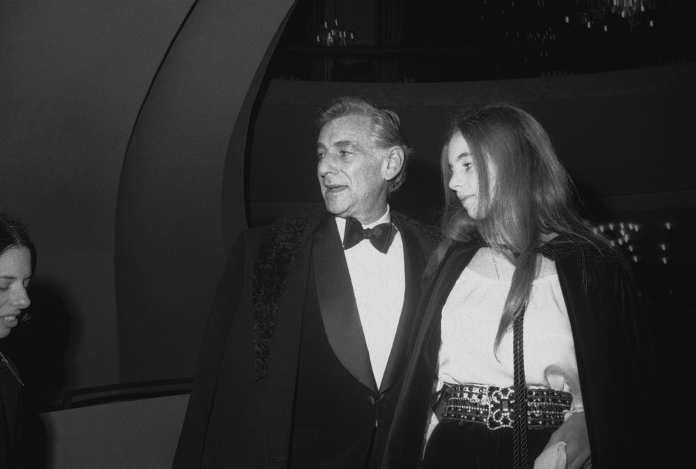 Leonard Bernstein with his daughter Jamie at the Metropolitan Opera in 1969. (AP)
