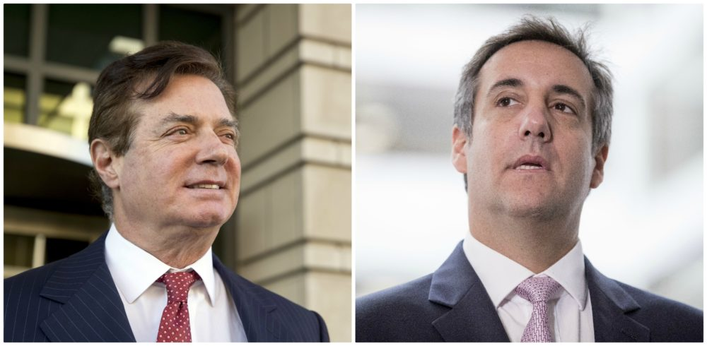 Paul Manafort, L, President Donald Trump's former campaign chairman, and, R, Michael Cohen, Trump's former personal attorney. (AP images)