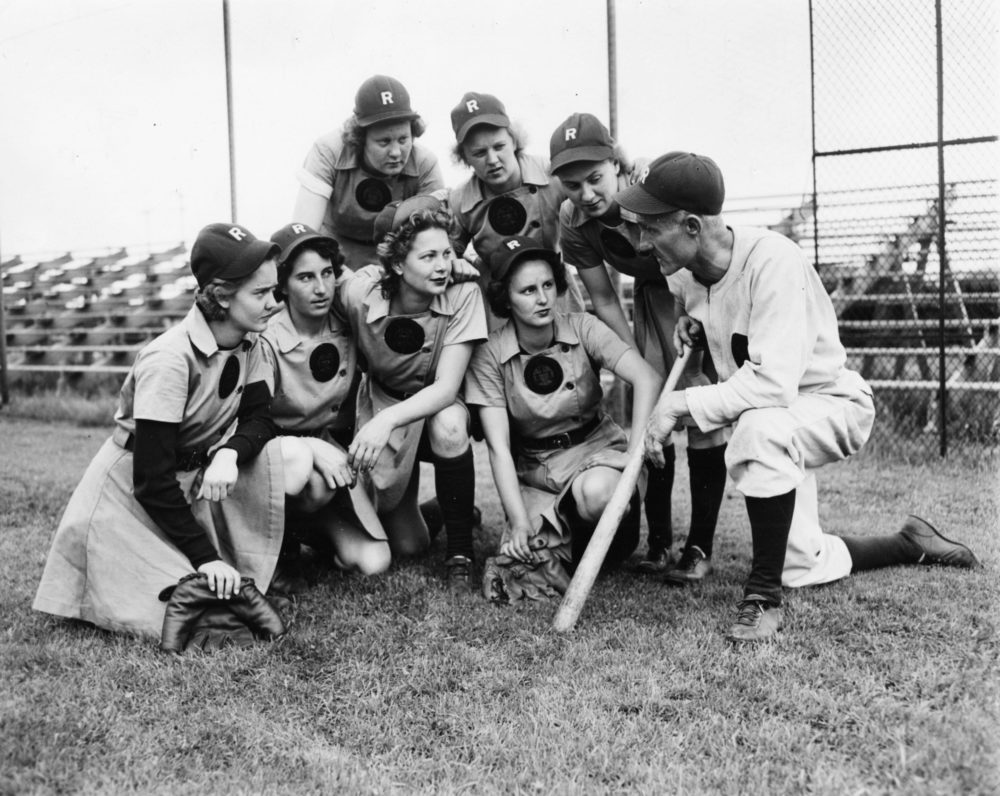 "The Rockford Peaches were featured in the 1992 movie, ""A League of Their Own."" (Courtesy Midway Village Museum, Rockford, IL)"