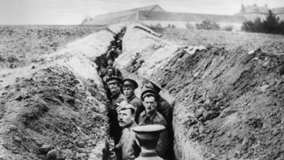 Soldiers lined up in a trench during World War I. (Hulton Archive/Getty Images)