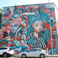 Yu-Baba and Key Detail's mural in Lynn for Beyond Walls (Dana Forsythe for WBUR)