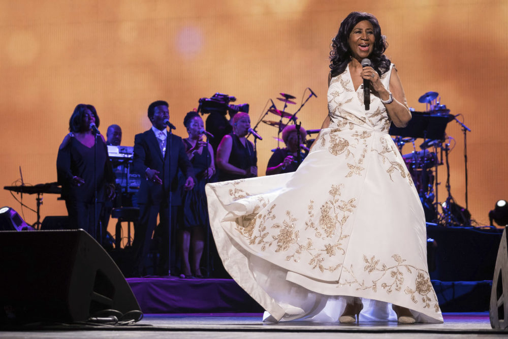 "Aretha Franklin performs at the world premiere of ""Clive Davis: The Soundtrack of Our Lives"" at Radio City Music Hall, during the 2017 Tribeca Film Festival, Wednesday, April 19, 2017, in New York. (Charles Sykes/Invision/AP)"