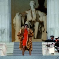 Aretha Franklin preforms at the Lincoln Memorial for President Clinton's inaugural gala on January 17, 1993. (Courtesy Mark Reinstein/Corbis via Getty Images)