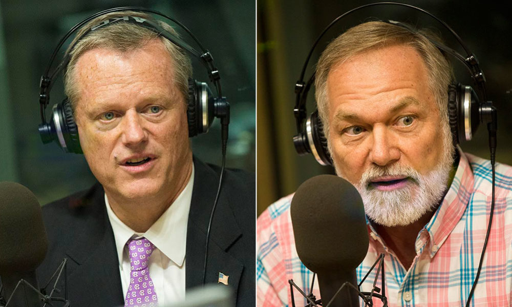 Gov. Charlie Baker and his Republican challenger, Scott Lively, during WBUR interviews (Jesse Costa/WBUR)