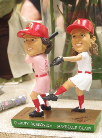 Shirley Burkovich and Maybelle Blair share a bobblehead. (Karen Given/WBUR)