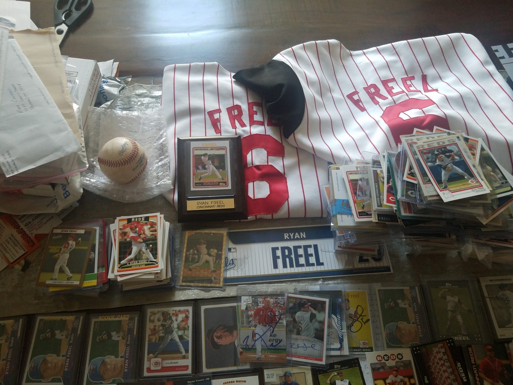 Some of the Ryan Freel memorabilia that's been sent to Matthew Christian. (Courtesy Matthew Christian)