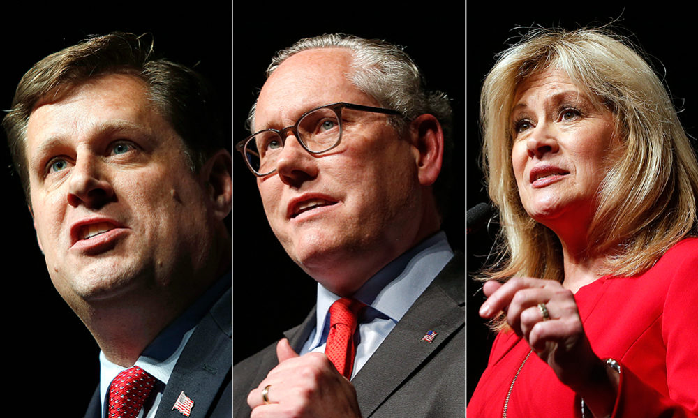 State Rep. Geoff Diehl, left, John Kingston and Beth Lindstrom are competing in the U.S. Senate Republican primary, for a chance to take on Sen. Elizabeth Warren. (Winslow Townson/AP)