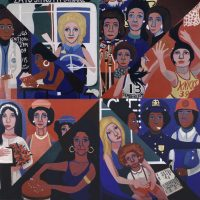 Faith Ringgold, For the Women's House, 1971. Oil on canvas, 96 x 96 inches (243.8 x 243.8  cm). Courtesy of Rose M. Singer Center, Rikers Island Correctional Center. © 2017 Faith Ringgold / Artists Rights Society (ARS), New York