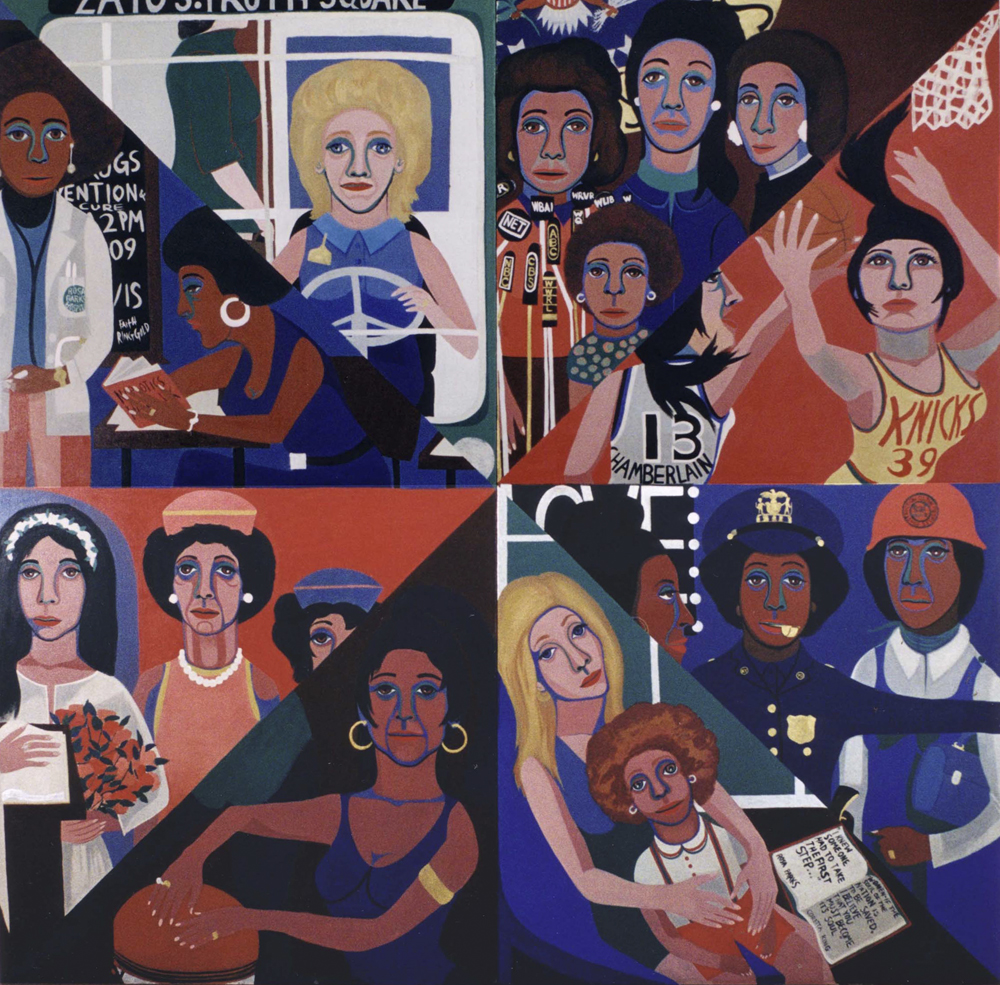 """Faith Ringgold's """"For the Women's House,"""" painted in 1971, oil on canvas. (Courtesy Rose M. Singer Center, Rikers Island Correctional Center/Faith Ringgold/Artists Rights Society, New York)"""