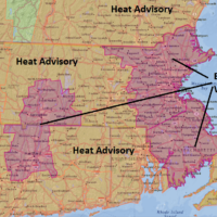 Heat alerts are posted for the area through the day on Wednesday. (Dave Epstein/NOAA Data)