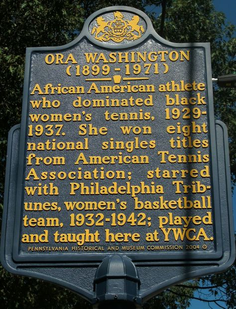 A commemorative plaque of Ora Washington now stands in Germantown, Pennsylvania. (Creative Commons)