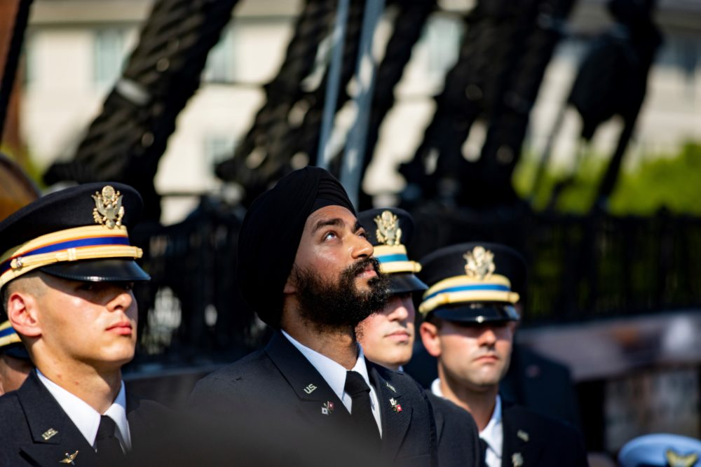 2nd Lt. Kanwar Singh, during his oath of office ceremony Sunday (Courtesy of Mark Wilson/Sikh Coalition)