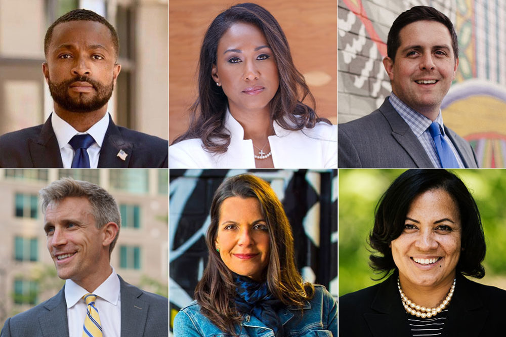 The candidates for Suffolk district attorney, clockwise from top left: Evandro Carvalho, Linda Champion, Gregory Henning, Rachael Rollins, Shannon McAuliffe and Michael Maloney. Five candidates are Democrats, Maloney is an independent. (Courtesy of the campaigns)