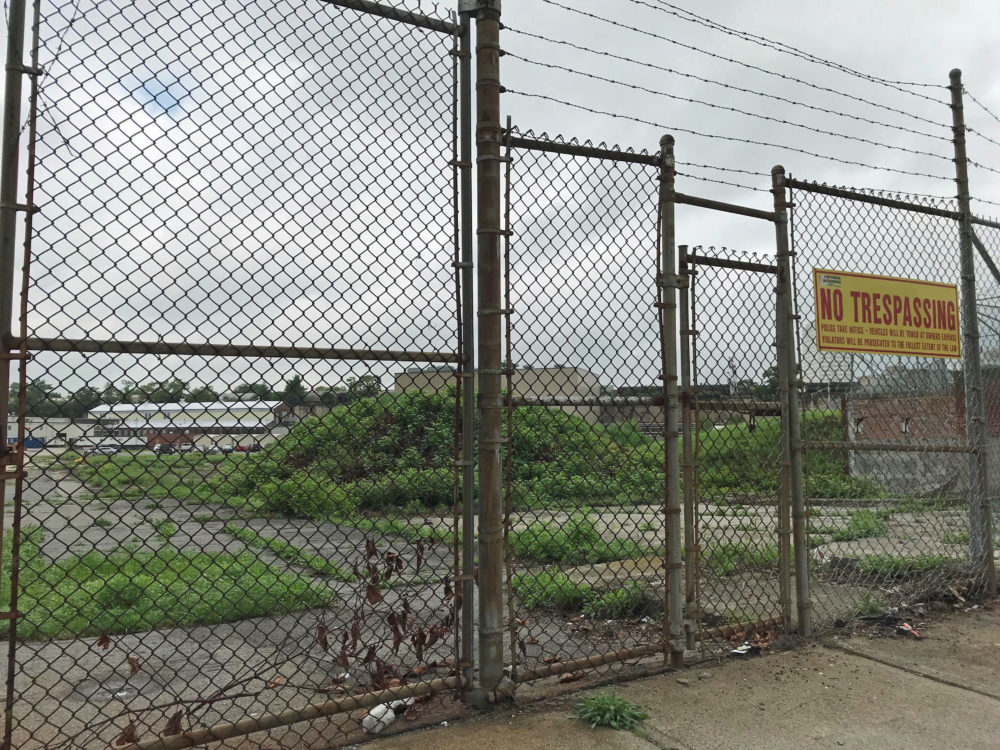 A vacant lot in Worcester's Canal District could be the site of a new ballpark. (Callum Borchers/WBUR)