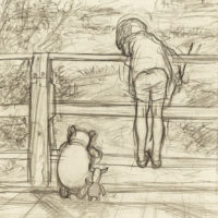 E.H. Shepard's drawing of Winnie the Pooh and Christopher Robin by the river. (Courtesy James DuBose/The Shepard Trust)
