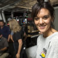 "Frankie Shaw, who created and plays Bridgette Bird in ""SMILF,"" on set in Boston. (Robin Lubbock/WBUR)"