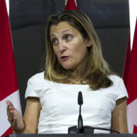 Canada's Foreign Affairs Minister Chrystia Freeland speaks during a news conference at the Canadian Embassy after talks at the Office of the United States Trade Representative, in Washington, Friday, Aug. 31, 2018. (Jose Luis Magana/AP)