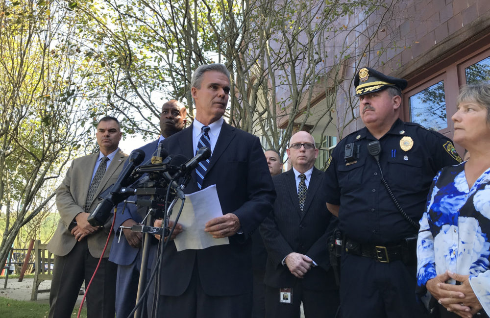 Worcester County District Attorney Joseph D. Early holds a press conference Wednesday to discuss the first-degree murder charges against Mathew Locke. (Shannon Dooling/WBUR)