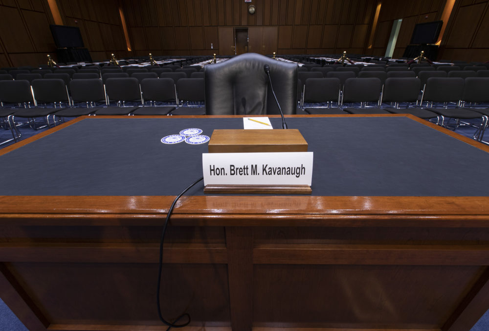 The witness table is prepared for President Trump's Supreme Court nominee, Brett Kavanaugh, in the Senate Judiciary Committee hearing room on Capitol Hill in Washington, Monday, Sept. 3, 2018. (J. Scott Applewhite/AP)