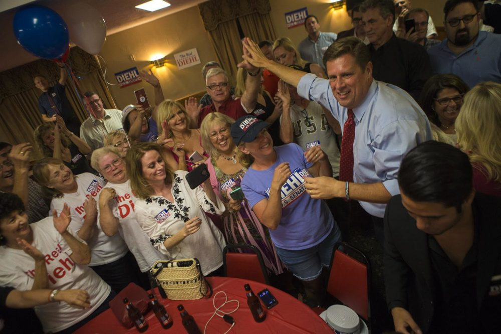 Geoff Diehl greets supporters after his Republican primary win. (Jesse Costa/WBUR)