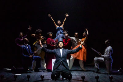 "The cast of ""The Black Clown"" at the American Repertory Theater. (Courtesy Maggie Hall/A.R.T.)"