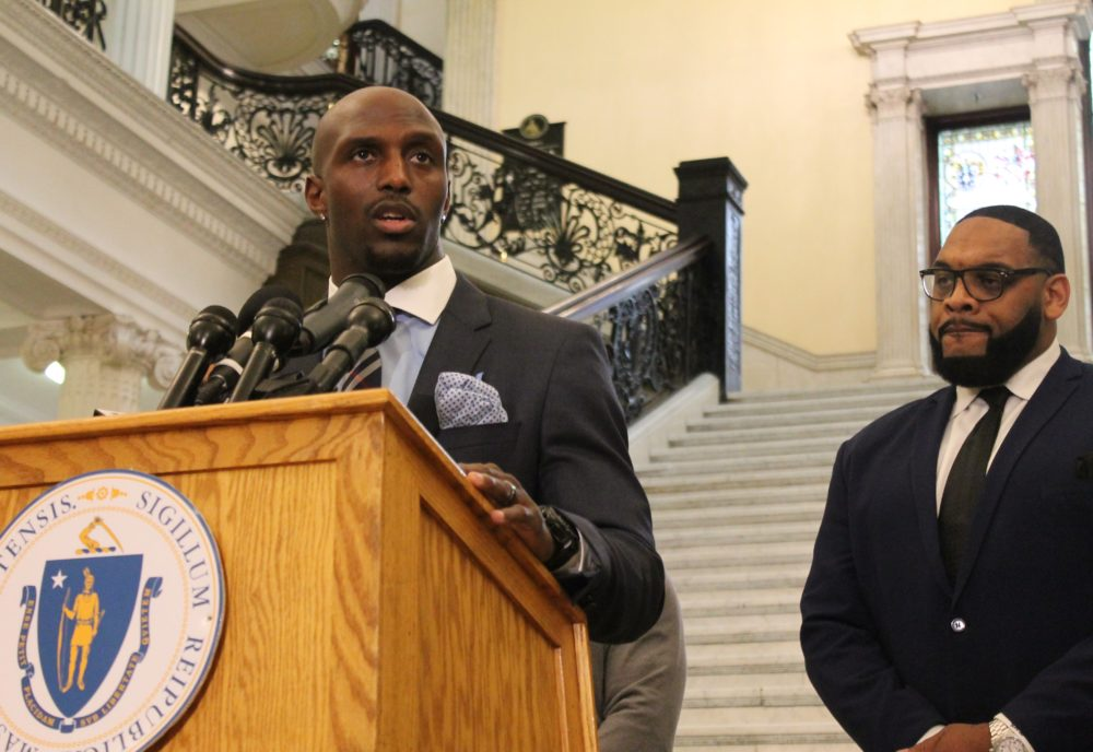 Devin McCourty speaks about criminal justice reform on Beacon Hill in March. (Sam Doran/State House News Service)