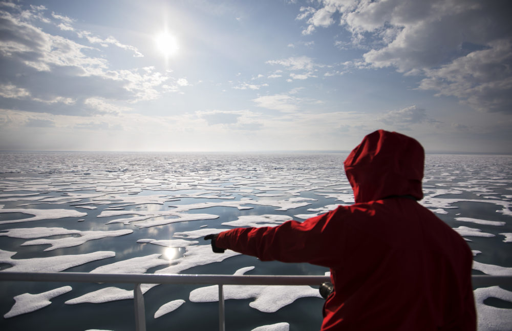 Researcher Tiina Jaaskelainen points out a possible sighting of wildlife aboard the Finnish icebreaker MSV Nordica as it traverses the Northwest Passage through the Canadian Arctic Archipelago, July 22, 2017. (David Goldman/AP)