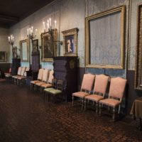 The back wall of the Gardner Museum's Dutch Room where the empty frames of two Rembrandt paintings hang. (Jesse Costa/WBUR)