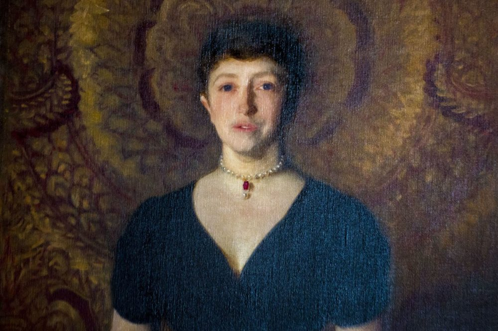 A portrait of Isabella Stewart Gardner by John Singer Sargent on display at her museum. (Jesse Costa/WBUR)
