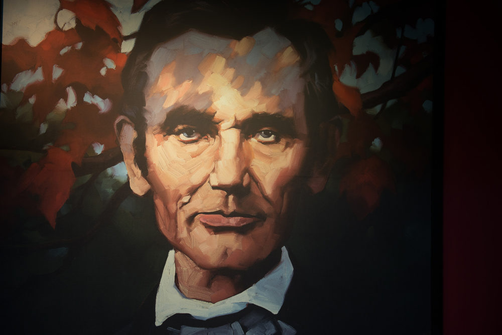 A painting of President Abraham Lincoln at the Abraham Lincoln Presidential Library and Museum in Springfield, Ill. (Neeta Satam for Here & Now)