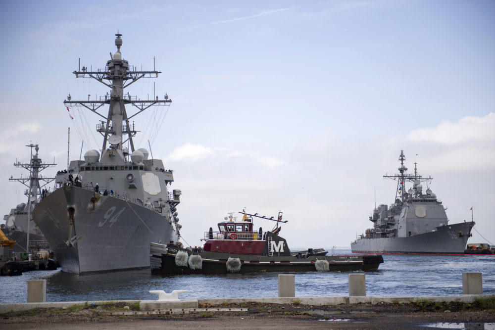 In this Monday, Sept. 10, 2018, photo released by the U.S. Navy, the guided-missile destroyer USS Nitze departs Naval Station Norfolk after the announcement of Hurricane Florence, in Norfolk, Va. (U.S. Navy photo by Mass Communication Specialist 2nd Class Justin Wolpert/U.S. Navy via AP)