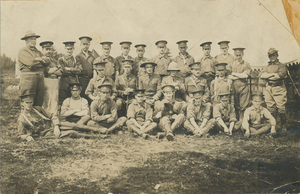 Winnie is pictured here with the Winnipeg section of the Canadian Army Veterinary Corps. The photograph was taken in Valcartier, Quebec, where the Canadian soldiers trained for Europe. (Courtesy of the Mattick family)