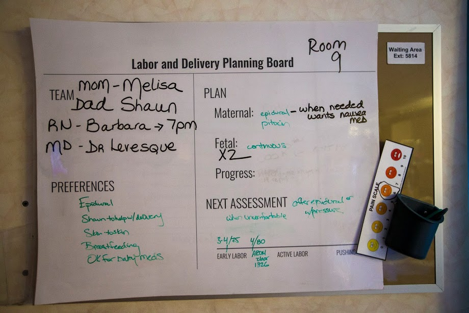 Melisa McDougall's Labor and Delivery Planning Board, a tool designed to ensure that all members of her childbirth team know how Melisa is doing and what's happening. (Jesse Costa/WBUR)