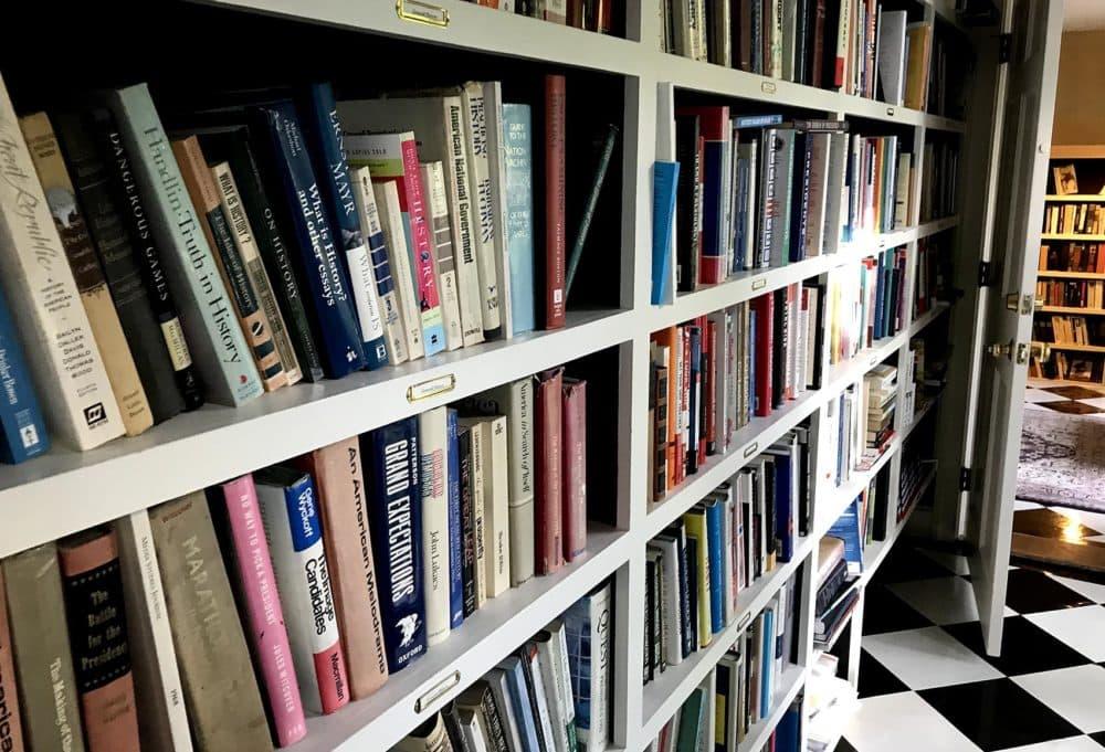 Bookshelves inside Doris Kearns Goodwin's home. (Robin Young/Here & Now)