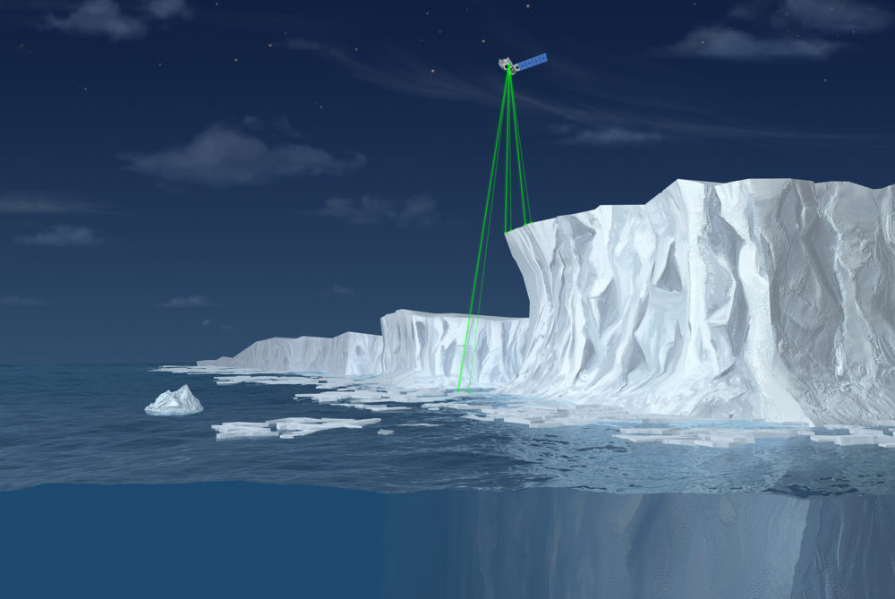 ICESat-2 will use six laser beams to measure the height of ice, as illustrated in this not-to-scale artist's rendering. (Courtesy NASA)