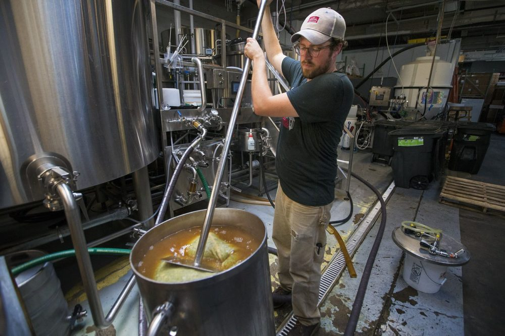 Lamplighter brewmaster Tyler Fitzpatrick stirs Magnum wet hops from Four Star Farms. (Jesse Costa/WBUR)