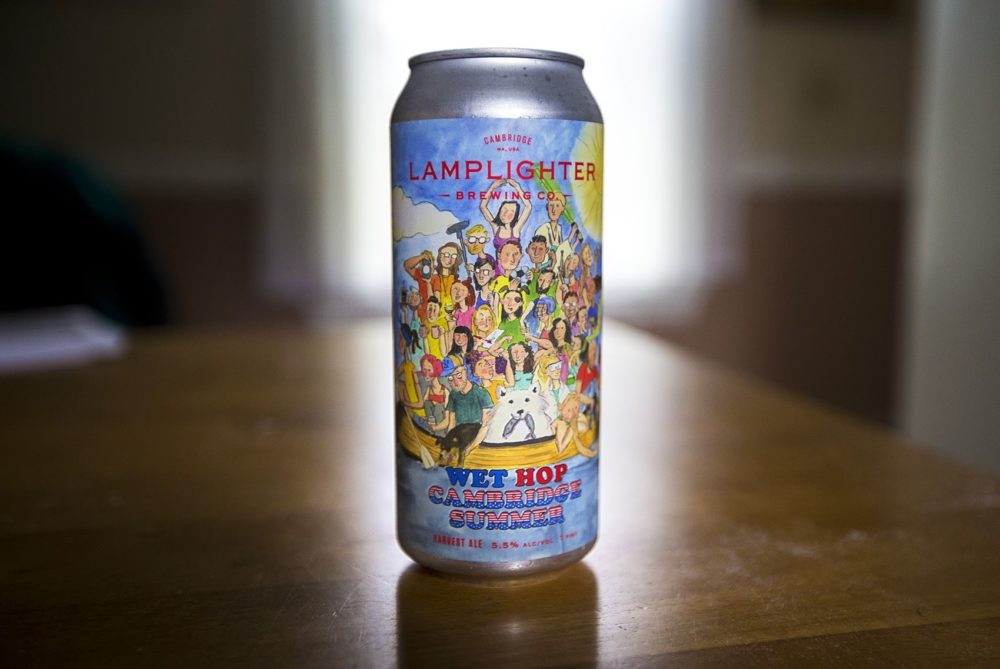 A 16 oz. can of Lamplighter's Wet Hop Cambridge Summer Ale made with local hops. (Jesse Costa/WBUR)