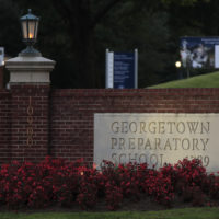 The entrance to the Georgetown Preparatory School Bethesda, Md., is shown, Wednesday, Sept. 19, 2018. Supreme Court nominee Brett Kavanaugh spent most of his teen years at the preparatory school in the 1980s. (Manuel Balce Ceneta/AP)
