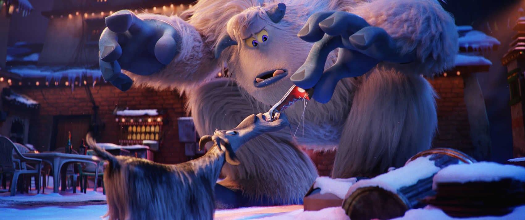 """Goat and Migo voiced by Channing Tatum in a still from the new animated film """"Smallfoot."""" (Courtesy of Warner Bros. Pictures)"""