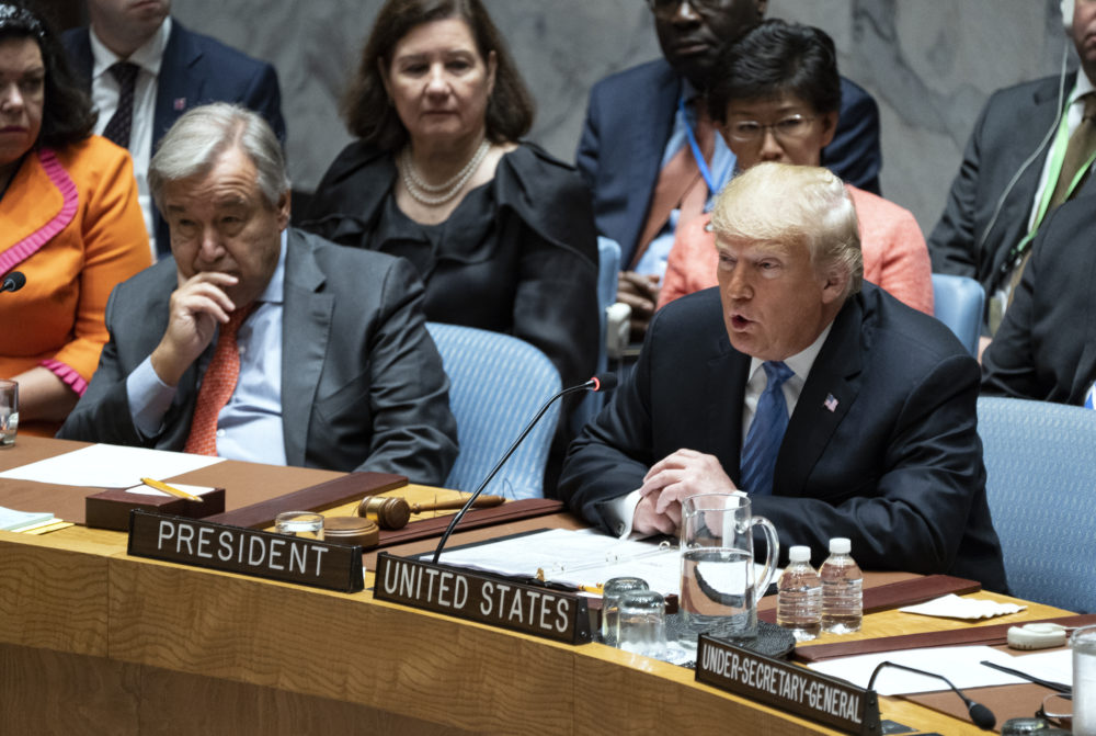 President Trump addresses the United Nations Security Council during the 73rd session of the United Nations General Assembly, at U.N. headquarters, Wednesday, Sept. 26, 2018. Left is United Nations Secretary-General Antonio Guterres. (Craig Ruttle/AP)