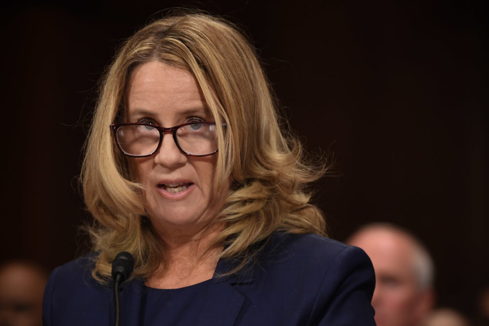 Christine Blasey Ford, the woman accusing Supreme Court nominee Brett Kavanaugh of sexually assaulting her at a party 36 years ago, testifies before the Senate Judiciary Committee on Capitol Hill in Washington, D.C., Sept. 27, 2018. (Saul Loeb/AFP/Getty Images)
