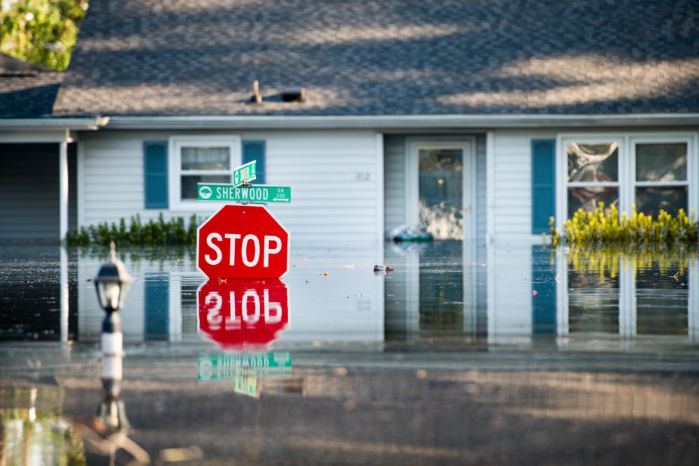 A home is inundated by floodwaters caused by Hurricane Florence near the Crabtree Swamp on Sept. 26, 2018 in Conway, S.C. (Sean Rayford/Getty Images)