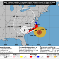 Early Thursday morning the track of Hurricane Florence was still headed for the Carolina Coastline.  (Courtesy NHC)
